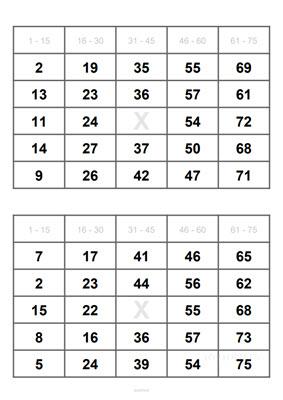 2 Bingo Cards