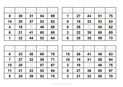 4 Bingo Cards